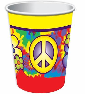 Hippie Decor 60's Decades Retro Woodstock Theme Party 9 oz. Paper Cups - Hippie Theme Party