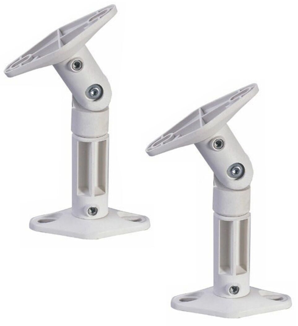 Two White Wall/Ceiling Speaker Bracket Mount for 5.1 Home Th