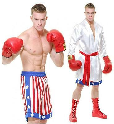 The Boxer Fighter USA Robe Shorts Fancy Dress Up Halloween Deluxe Adult Costume ()