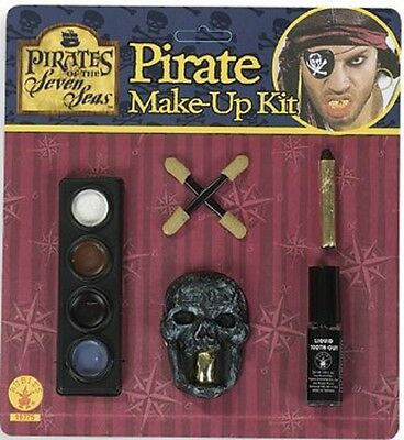 Caribbean Pirate Makeup Kit Deluxe Tooth Dress Up Halloween Costume Accessory