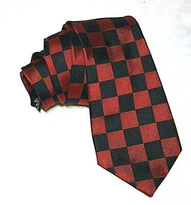 "Axist Red Black Pure Silk Tie Checkerboard 60"" event costume cosplay steampunk"