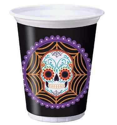 Day of Dead Dia de Muertos Skeleton Skull Halloween Party 16 oz. Plastic Cups