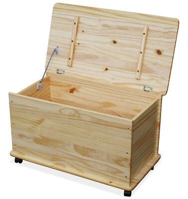 KMH® Spielzeugkiste Spielzeugbox Holzkiste Truhe natur Deckel Spielkiste