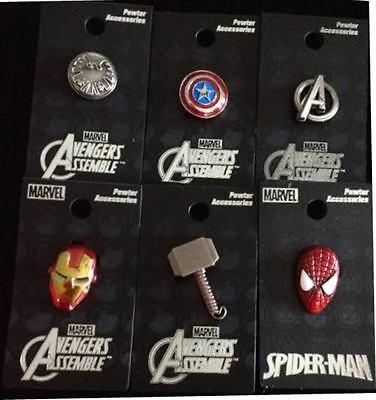 AVENGERS lapel pin charm Thor Cpt. America Iron Man Shield Spiderman Marvel pins