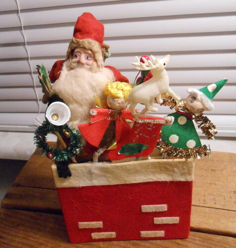 Vintage Japan Santa Standing in Chimney Candy Container