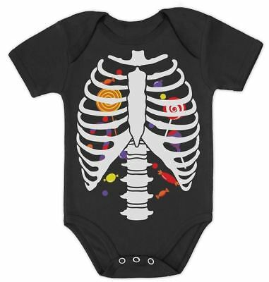 Sweet Candy Skeleton Rib-cage X-Ray Halloween Costume Baby Bodysuit Funny