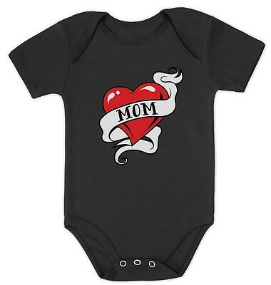 Mom Heart Tattoo Valentine's Day Gift Love Mommy Cute Baby Bodysuit Infant](Mom Heart Tattoos)