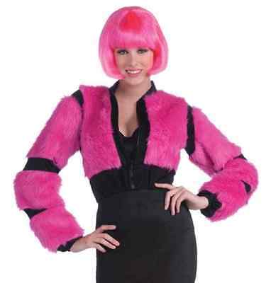 Annie May Furry Jacket Pink Rave Anime Fancy Dress Halloween Costume Accessory - Annie Halloween Costumes