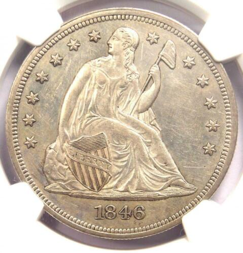 1846 Seated Liberty Silver Dollar $1 - NGC Uncirculated Details (UNC MS) - Rare!