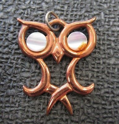 Eyed Owl Pendant - COPPER TONE METAL - OWL PENDANT ITH BIG EYES - 1-1/4