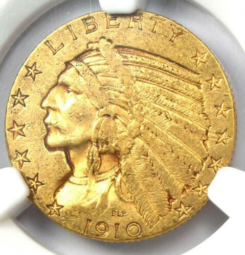 "1910-S Indian Gold Half Eagle $5 Coin - Certified NGC AU53 - Rare ""S"" Mint!"