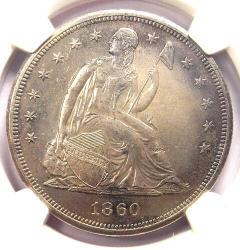 1860-O Seated Liberty Silver Dollar $1 - NGC Uncirculated Detail (UNC MS). Rare