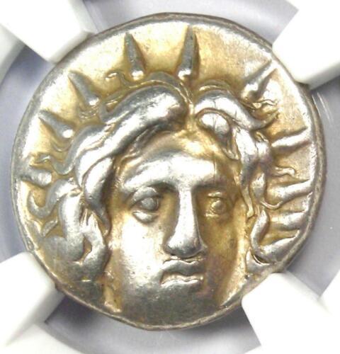 Caria Rhodes Greek AR Didrachm Coin Rose Helios 250-205 BC - Certified NGC VF