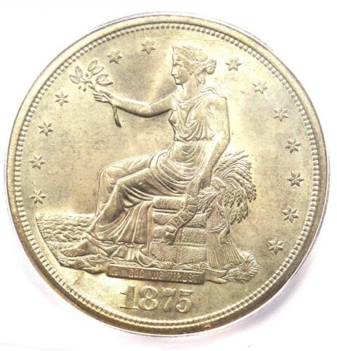 1875-S Trade Silver Dollar T$1 Coin - Certified ICG MS64 (UNC BU) - $2,250 Value