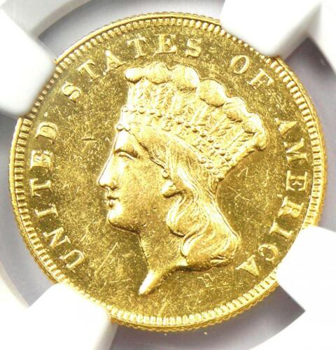 1869 Three Dollar Indian Gold Coin $3 - Certified NGC AU Details - Rare Date!