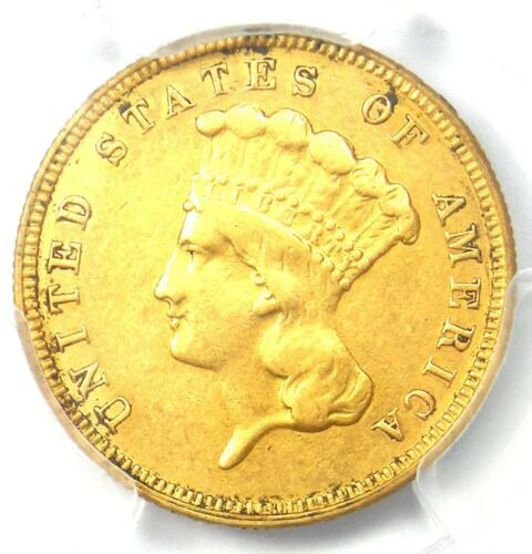 1882 Three Dollar Indian Gold Coin $3 - Certified PCGS XF Details - Rare Date!