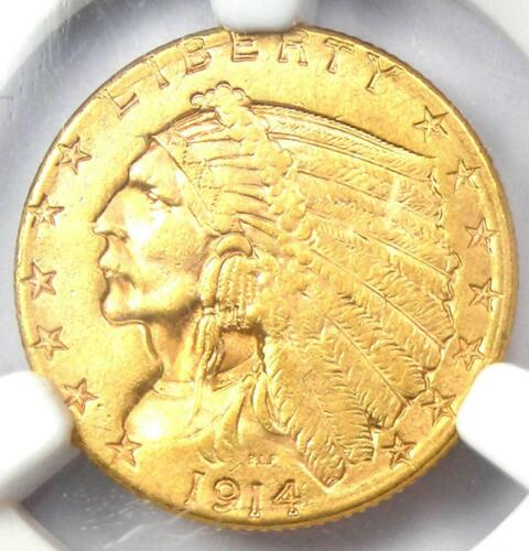 1914-D Indian Gold Quarter Eagle $2.50 Coin - NGC Uncirculated Details (UNC MS)!