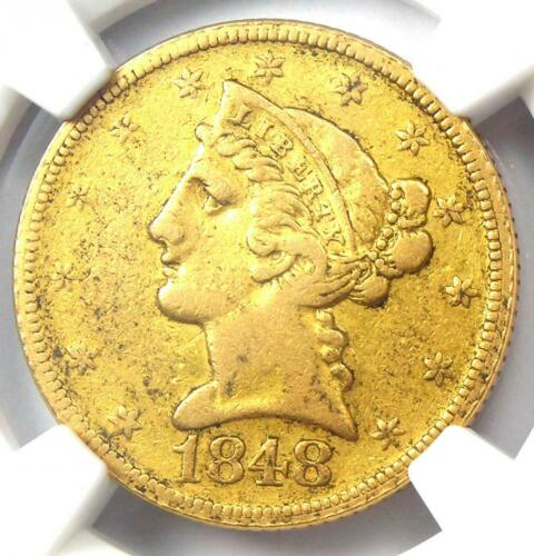 1848-D Liberty Gold Half Eagle $5 - Certified NGC XF Details - Dahlonega Coin!