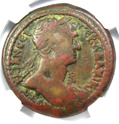 Roman Egypt Alexandria Trajan AE Drachm Copper Coin 112 AD - Certified NGC Fine