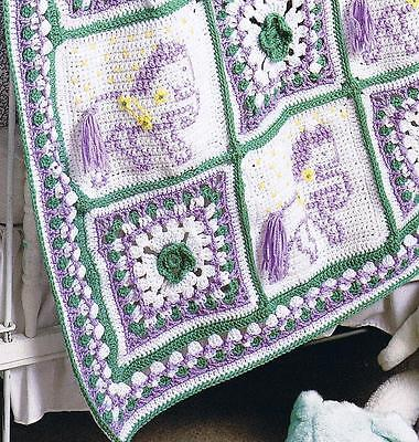 35+ CROCHET AFGHAN PATTERN Laws ~ CAROUSEL HORSE CATS 3D FLOWERS DAISY GRANNY