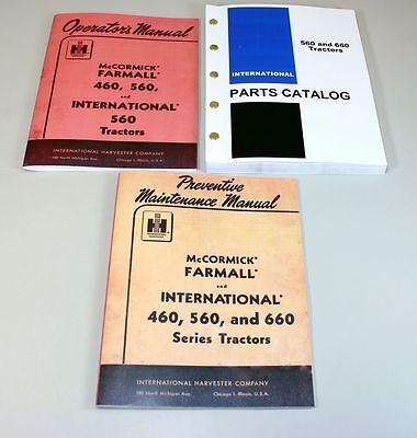 International Farmall 560 Gas Tractor Operator Parts Preventive Manual Catalog