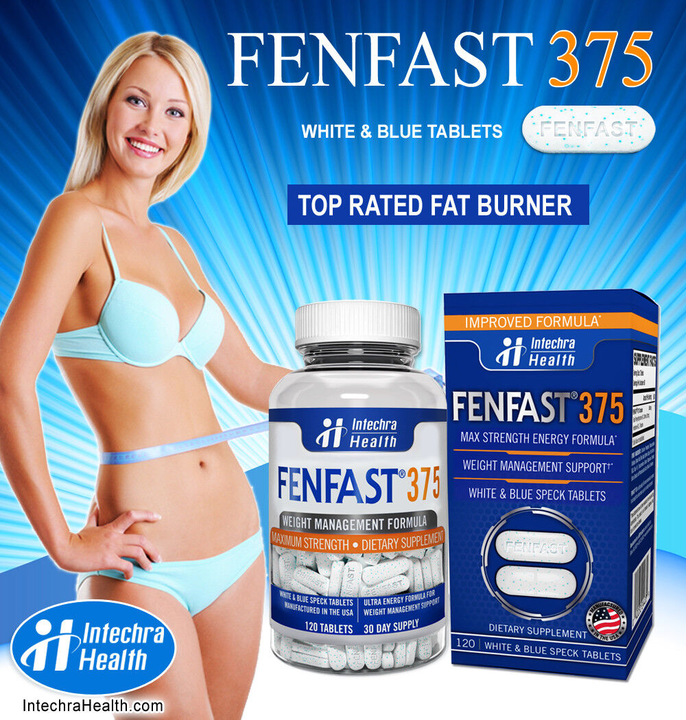 FENFAST 375 Best Weight Loss Diet Pills + Maximum Energy 120 White/Blue Tablets  6