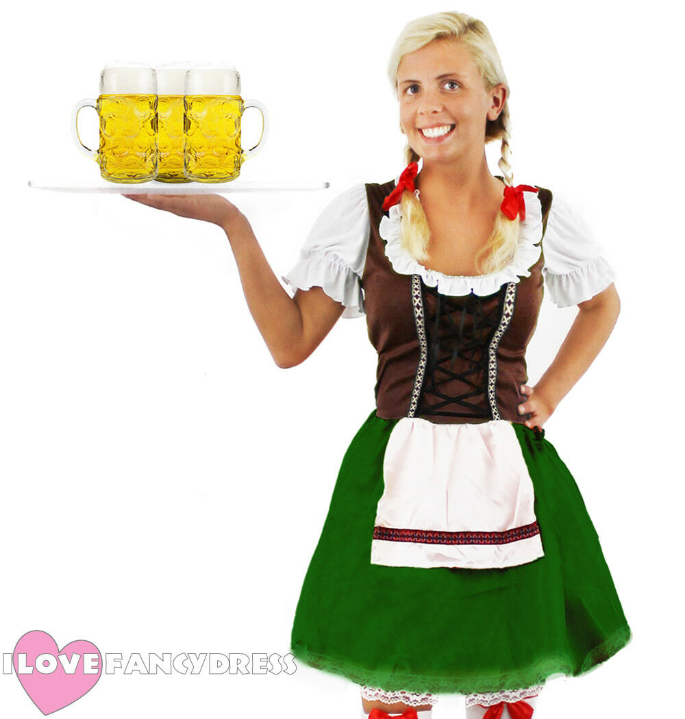 1291f55a474 Details about BAVARIAN BEER GIRL COSTUME OKTOBERFEST FANCY DRESS WOMENS  GERMAN MAID WENCH