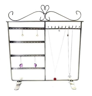 Combo Earring Holder ~Necklace Organizer, Jewelry Stand Display (Antique Silver)
