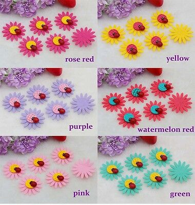20-50-100PCS Sunflower ladybug Felt Appliques Satin Ribbon Flower Wedding - Felt Flowers Diy