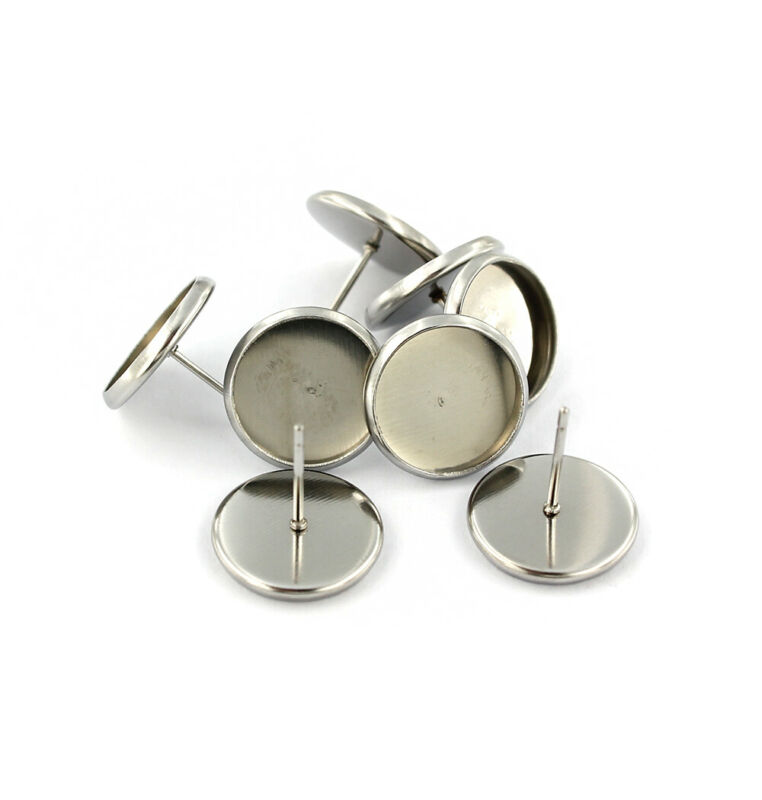10 Earring Stud Posts Blank Cabochon Setting Stainless Steel - 12mm Tray - Z920