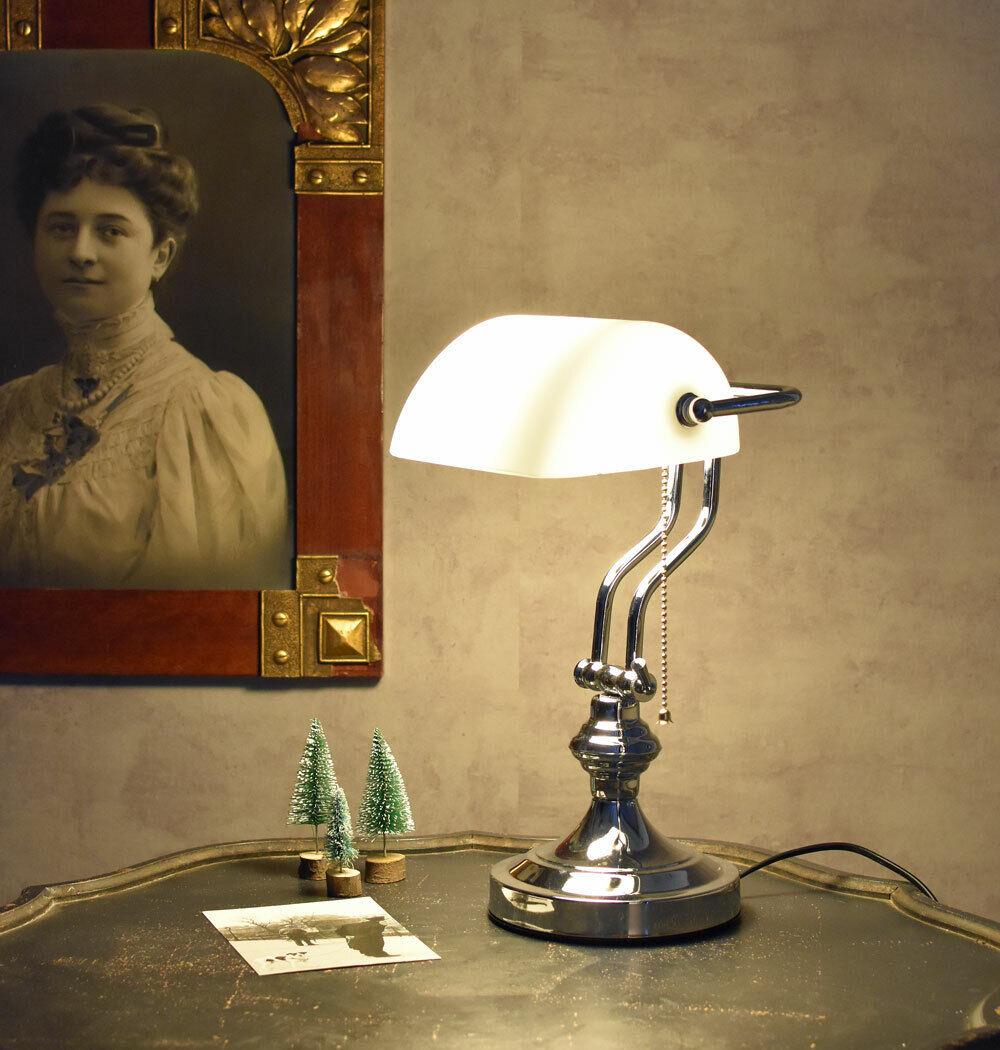 Bankerlampe weiss Tischlampe silber Bankers Lamp Bankierlampe Bürolampe Leuchte