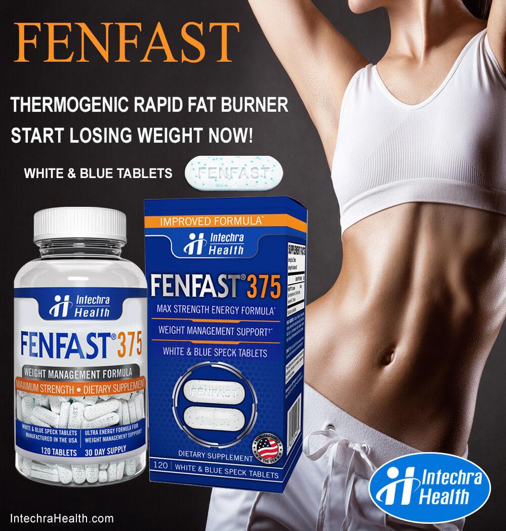 FENFAST 375 Best Weight Loss Diet Pills + Maximum Energy 120 White/Blue Tablets  4