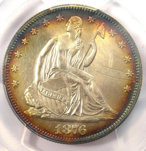 1876 PROOF Seated Liberty Half Dollar 50C -  PCGS Proof AU Details - Rare Coin!