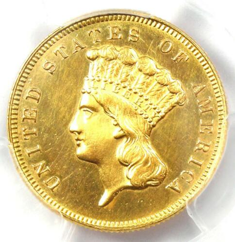 1880 Three Dollar Indian Gold Coin $3 - PCGS Uncirculated Detail (UNC MS) - Rare