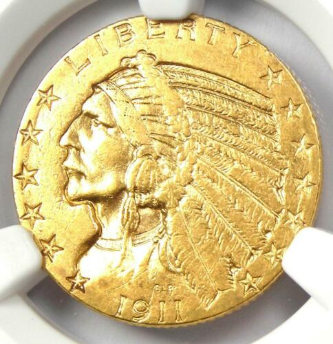"1911-S Indian Gold Half Eagle $5 Coin - Certified NGC AU53 - Rare ""S"" Mint!"