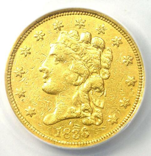 1836 Classic Gold Quarter Eagle $2.50 - Certified ANACS AU50 Detail - Rare Coin!