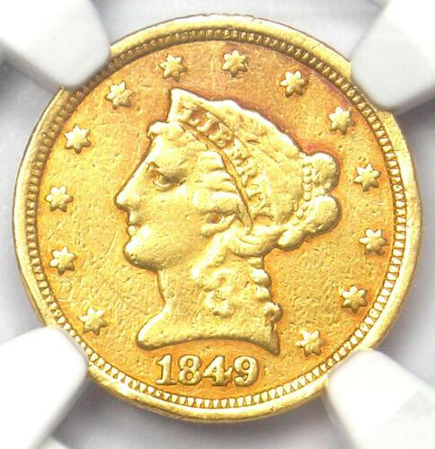 1849-C Liberty Gold Quarter Eagle $2.50 - NGC XF Details - Rare Charlotte Coin!
