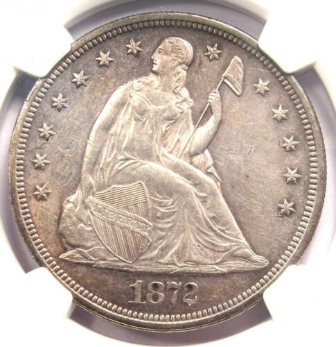 1872 Seated Liberty Silver Dollar $1 - NGC Uncirculated Detail (UNC MS) - Rare!