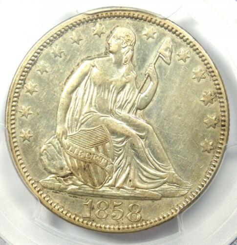 1858 Seated Liberty Half Dollar 50C - Certified PCGS AU Details - Rare Date!