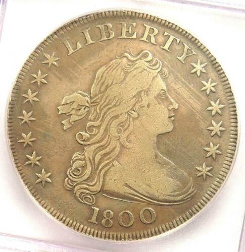 1800 Draped Bust Silver Dollar $1 - Certified ICG VF25 Details - Rare Coin!