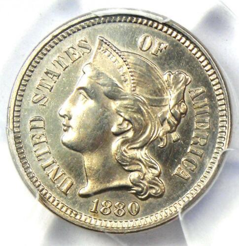 1880 PROOF Nickel 3 Cent Coin (3CN) - Certified PCGS Proof UNC Details (PR / PR)