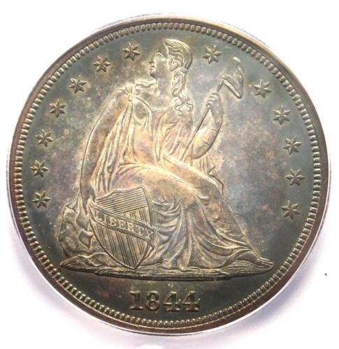 1844 Seated Liberty Silver Dollar $1 - Certified ICG MS62 (UNC BU) - $7000 Value