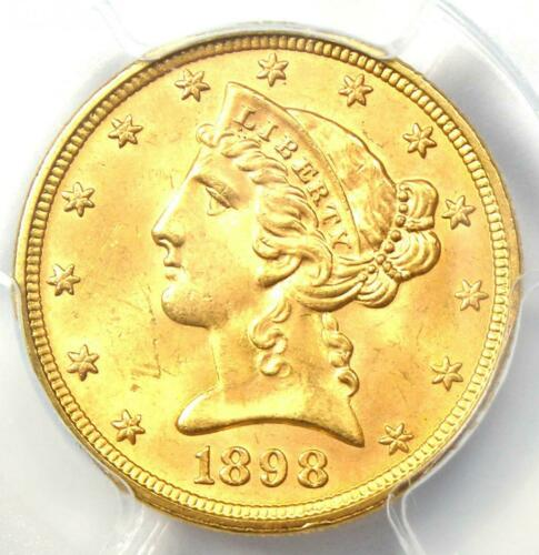 1898 Liberty Gold Half Eagle $5 Coin - Certified PCGS MS65 - $3,500 Value!