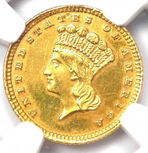 1884 Indian Gold Dollar (G$1 Coin) - Certified NGC AU Details - Rare Date!