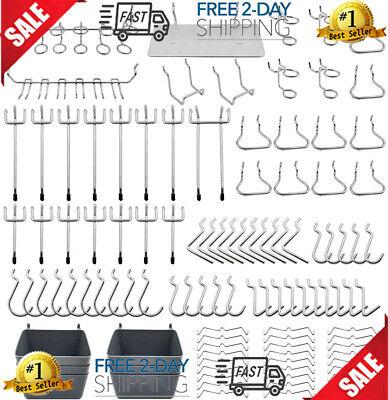 Pegboard Hooks Assortment Plastic Bins Peg Locks For Organizing Tools 140pcs
