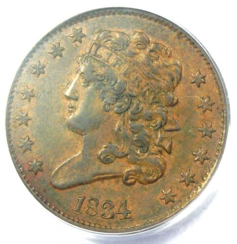 1834 Classic Head Half Cent - Certified PCGS AU58 - Rare Early Date Coin!