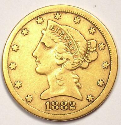 1882-CC Liberty Gold Half Eagle $5 Coin - Nice VF - Rare Carson City Coin! Carson City Gold Coins