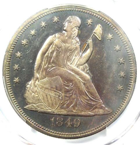 1849 Seated Liberty Silver Dollar $1 - PCGS Uncirculated Detail (UNC MS) - Rare!