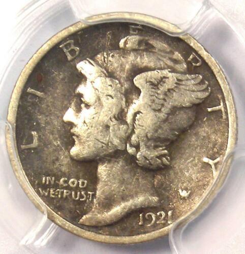 1921 Mercury Dime 10C Coin - Certified PCGS VF Details - Rare Key Date!