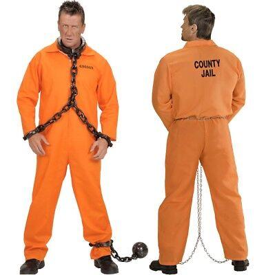 County Jail Sträfling Herren Kostüm Gefangener - Overall orange Karneval - Herren Gefangener Kostüm